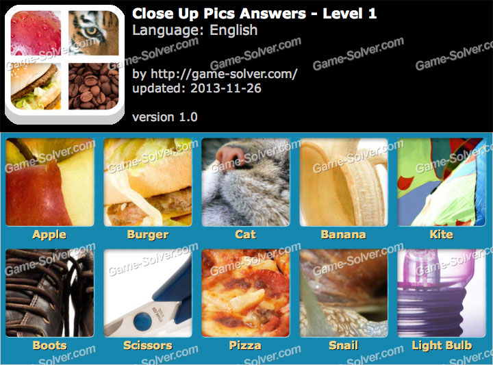 Close Up Pics Answers Game Solver