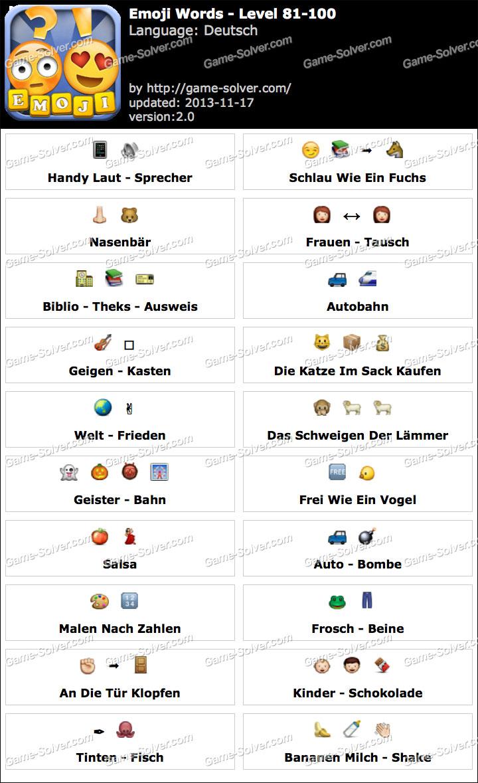 Emoji Words Deutsch Level 81-100 - Game Solver