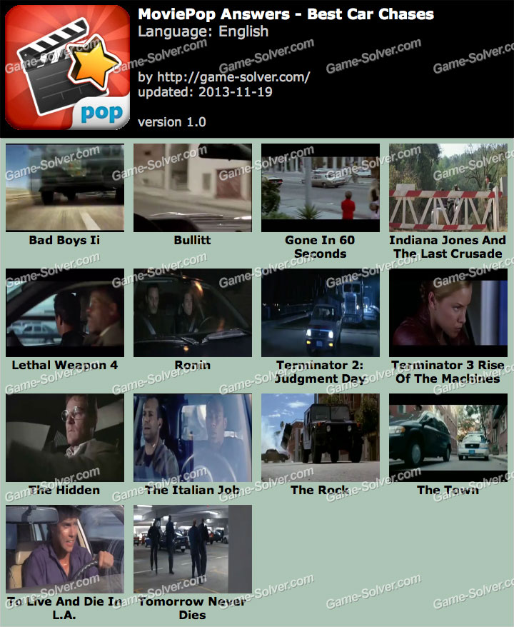 MoviePop Best Car Chases Answers