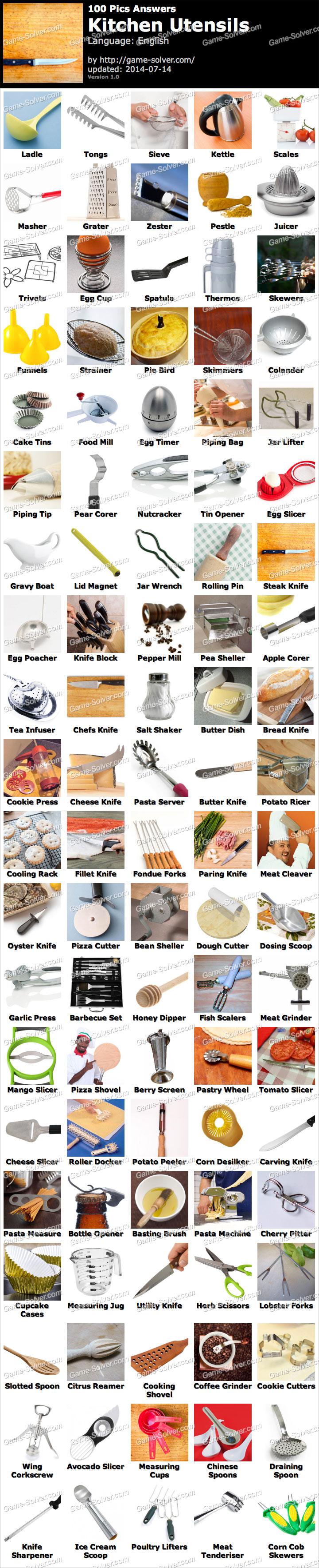 100 Pics Kitchen Utensils