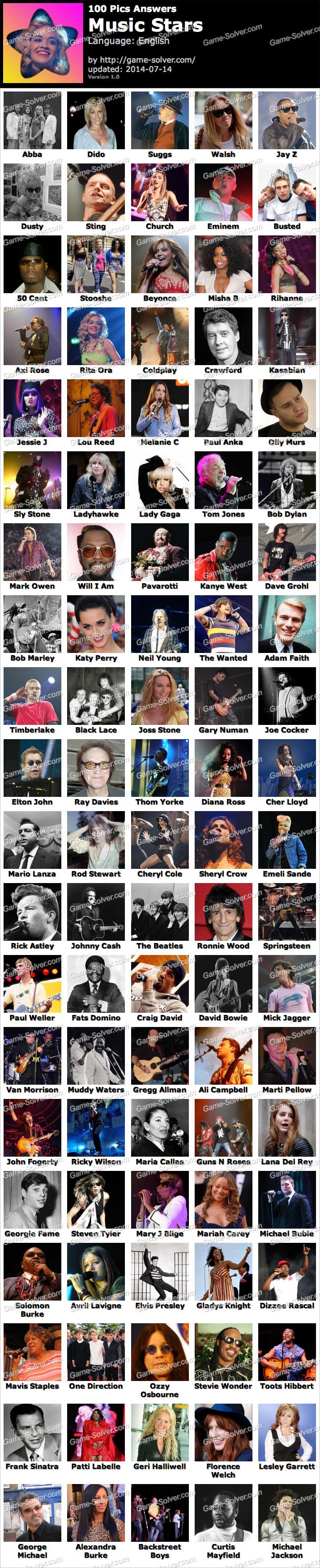 100 Pics Music Stars
