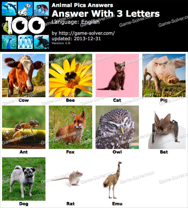 Animal Pics Answers - Game Solver