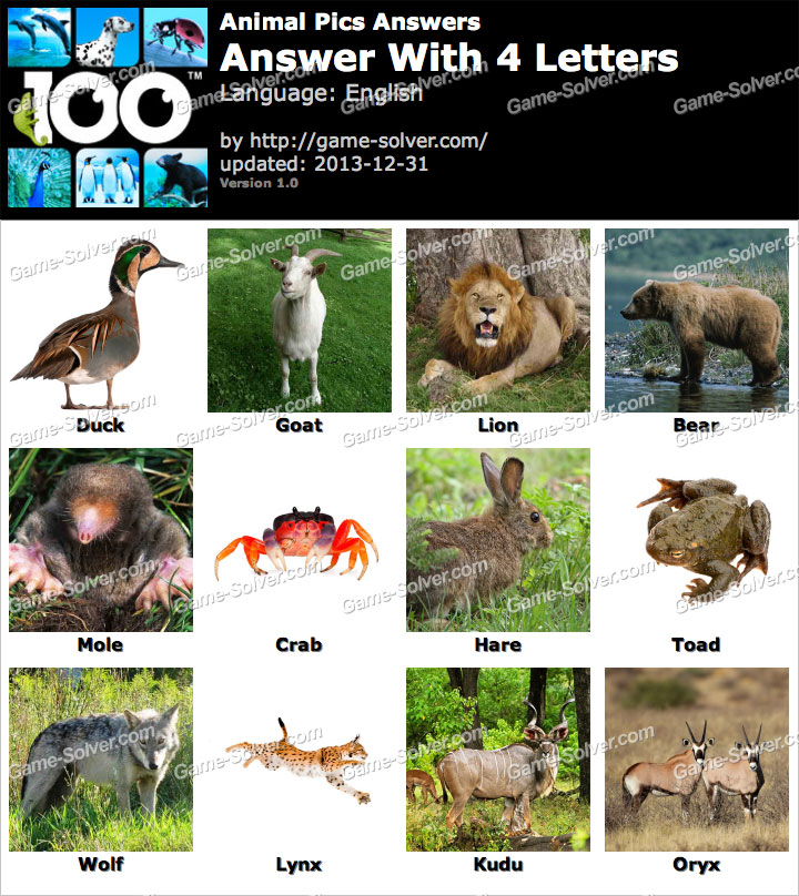 Animal Pics 4 Letters   Game Solver