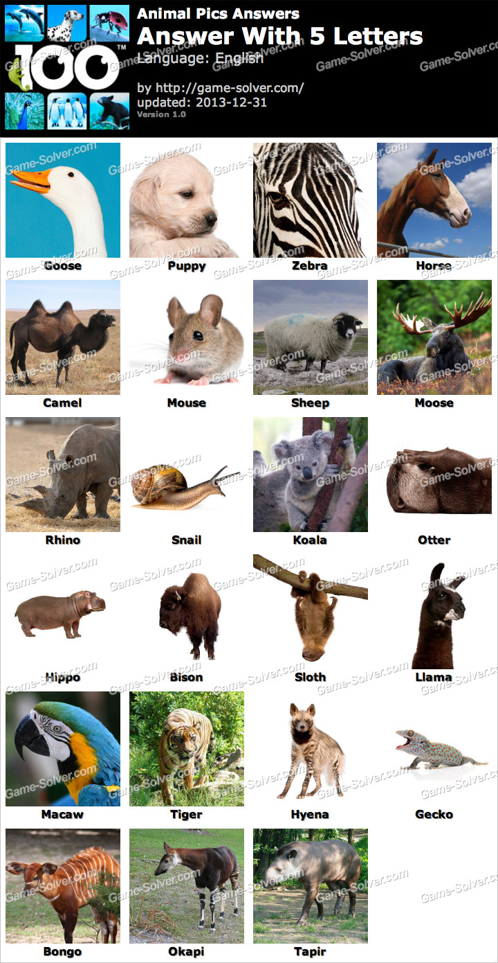 4 letter animals animal pics 5 letters solver 20099 | Animal Pics 5 Letters