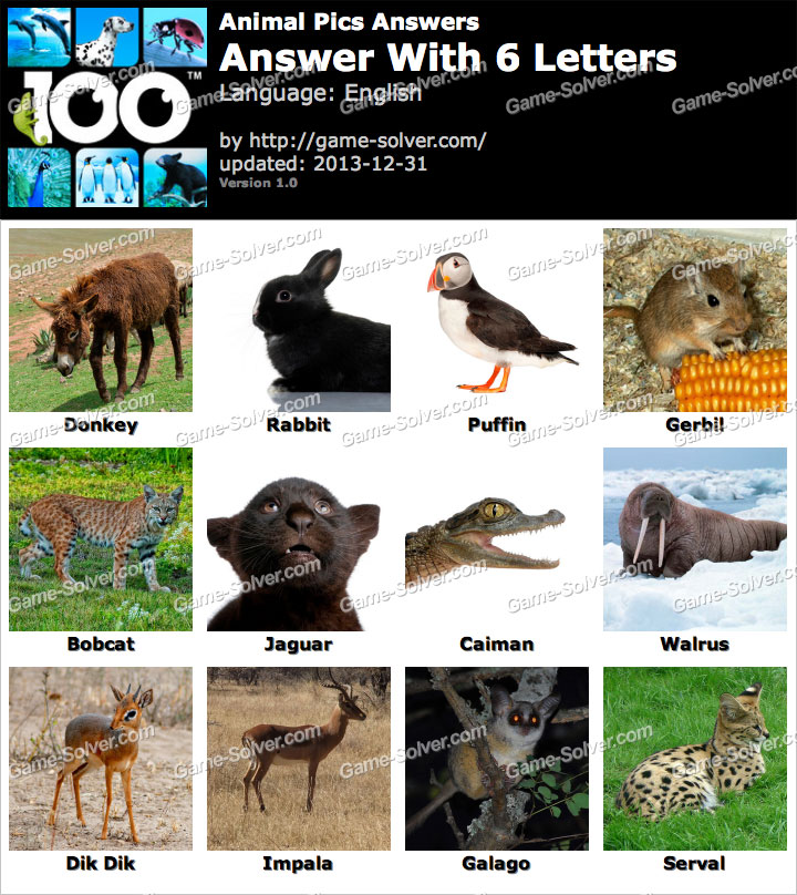 Animal Pics 6 Letters - Game Solver
