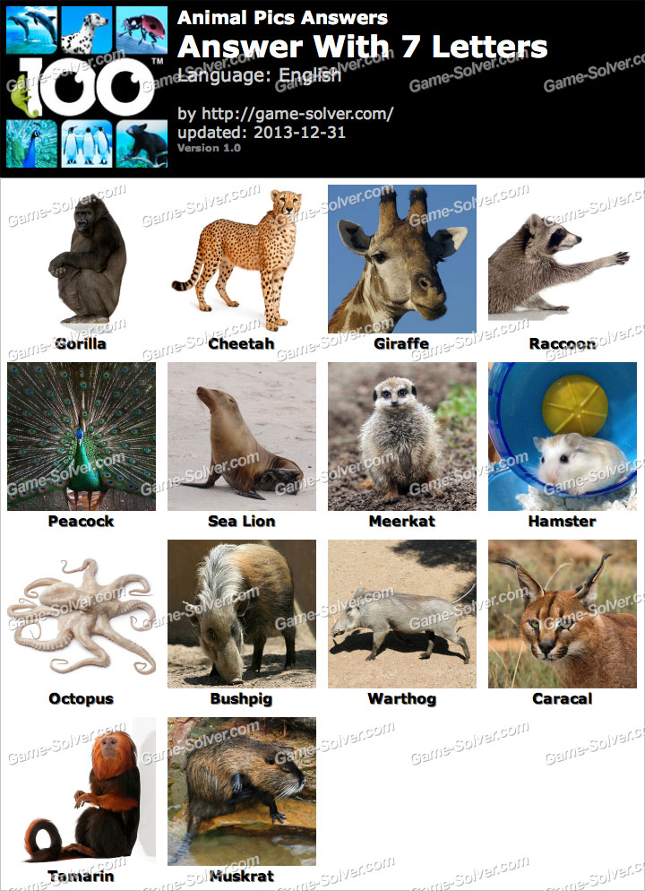 Animal Pics 7 Letters   Game Solver