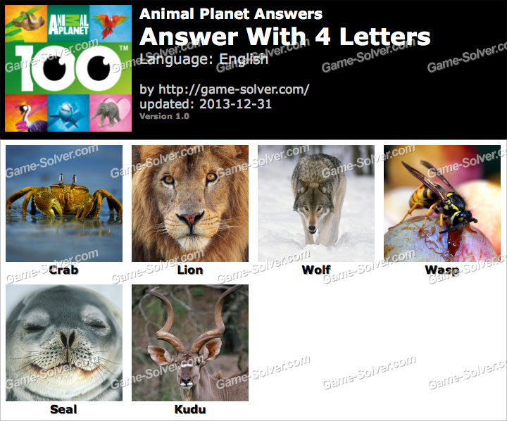 animals with four letters animal planet 4 letters solver 20464