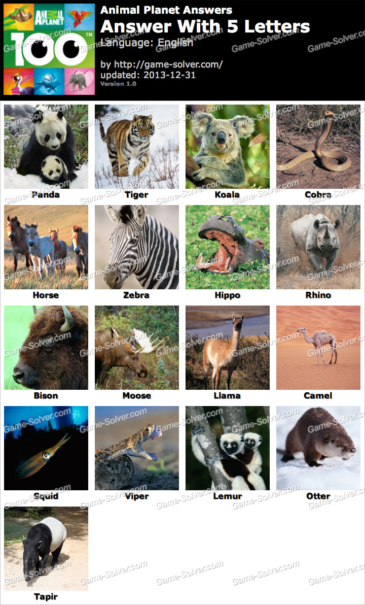 animals with four letters animal planet 5 letters solver 20464