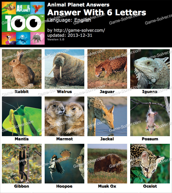 animals with four letters animal planet 6 letters solver 20464