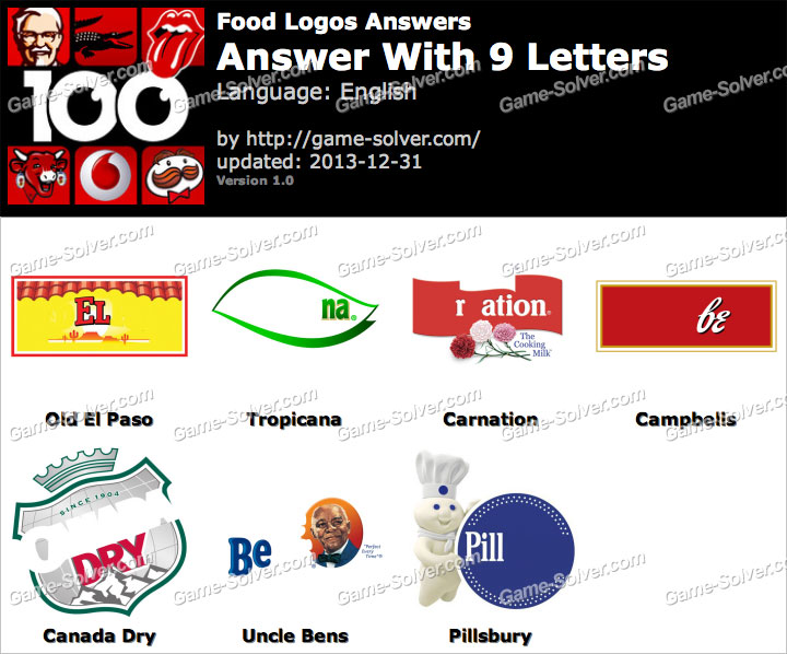Food Logos 9 Letters - Game Solver
