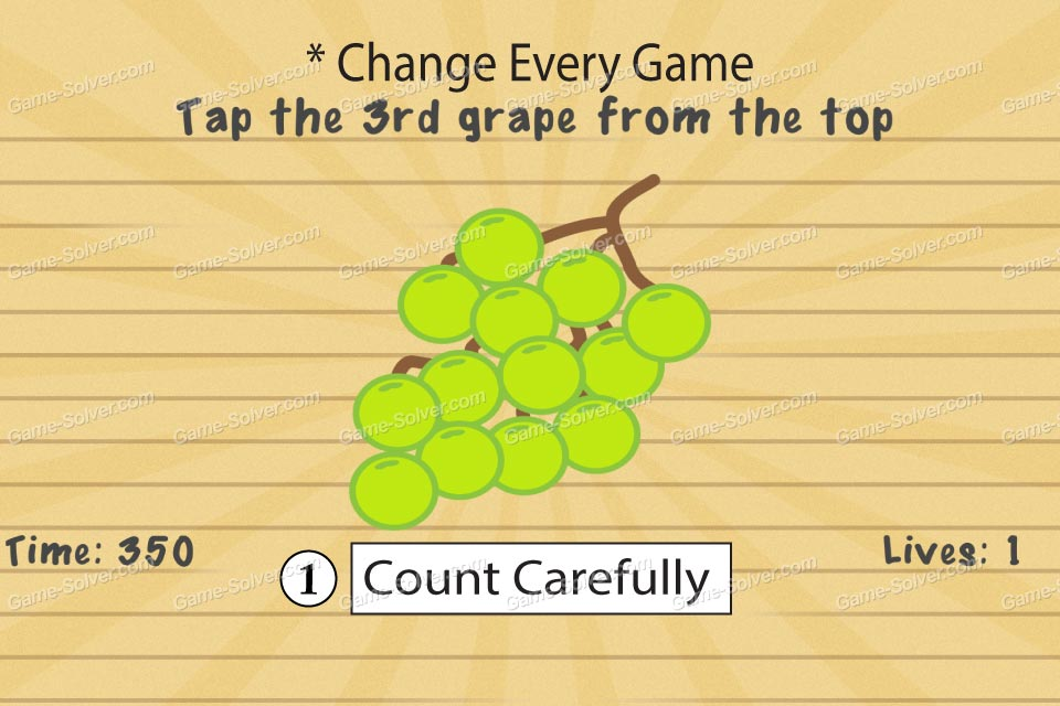 impossible test 2 tap the 3rd grape from the top