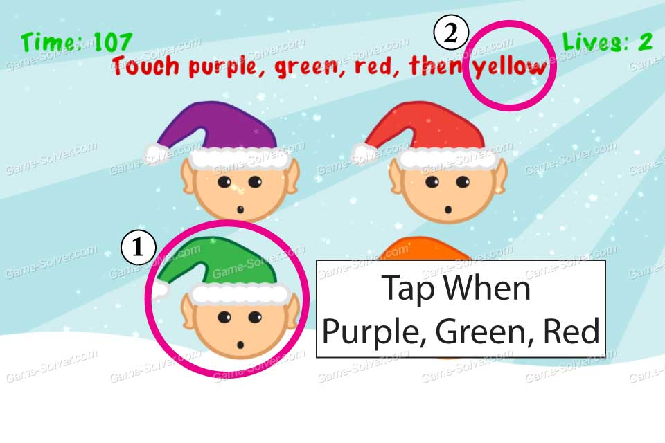Impossible Test Christmas Touch purple, green, red, then yellow