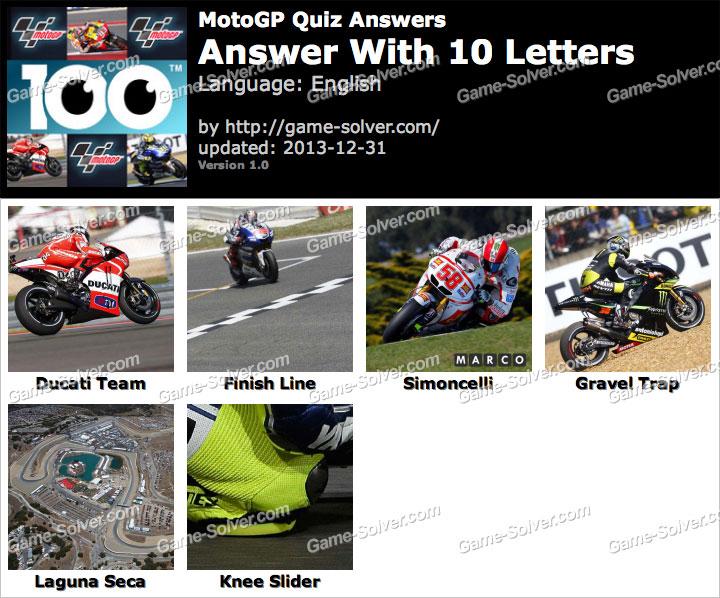 MotoGP Quiz 10 Letters - Game Solver