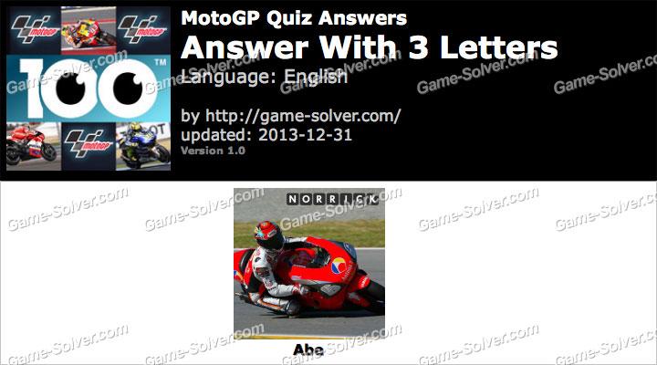 MotoGP Quiz Answers - Game Solver