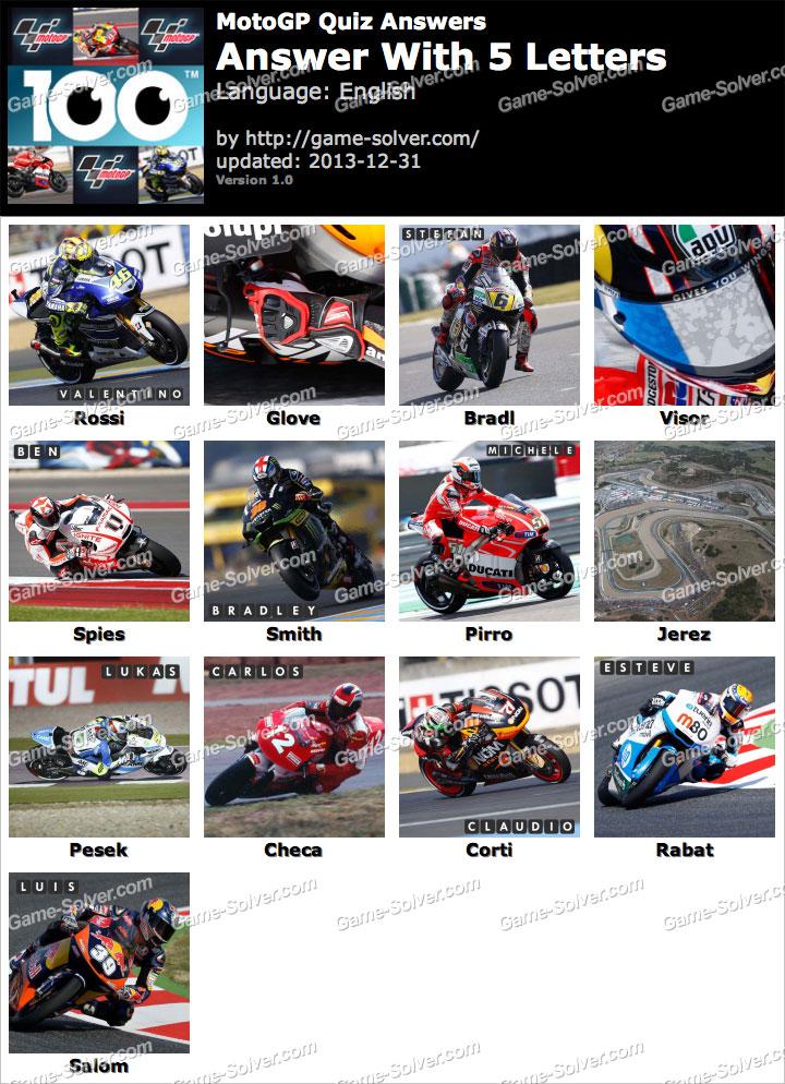 MotoGP Quiz 5 Letters - Game Solver