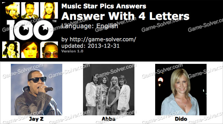 Music Star Pics 4 Letters