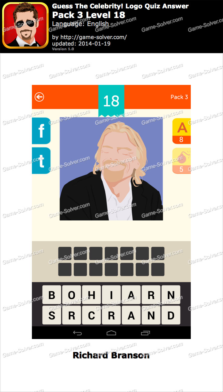 guess the celebrity logo quiz pack 3 level 18 game solver