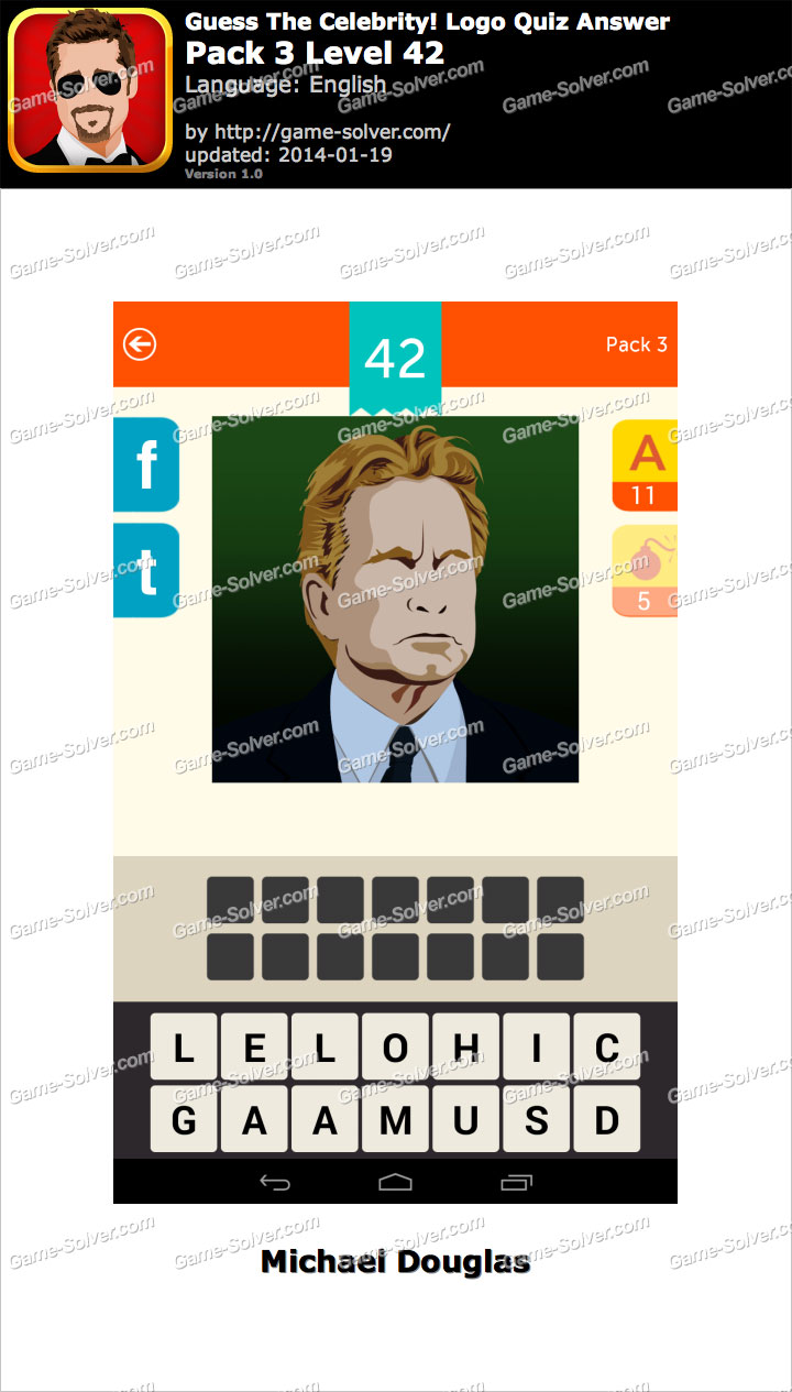 Celebrity Guess Level 42 - Game Solver