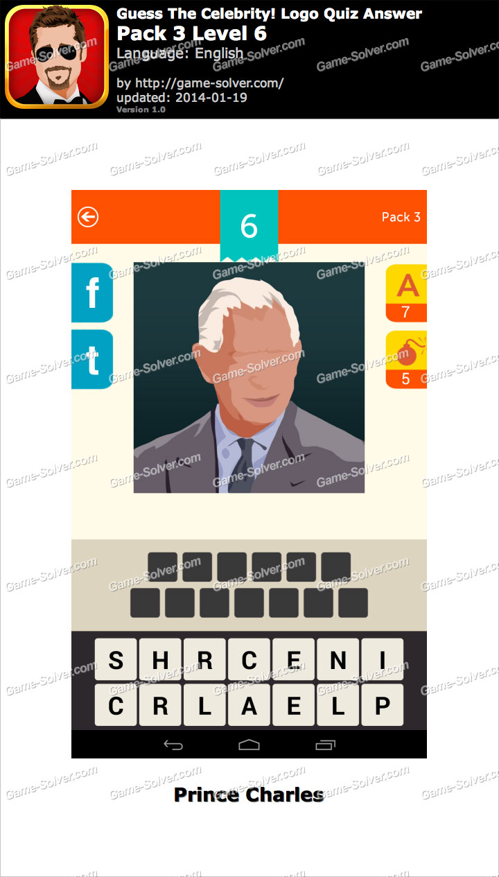 Guess The Celebrity Logo Quiz Pack 3 Level 6 - Game Solver