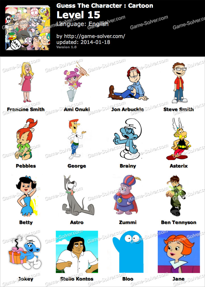 Cartoon Characters 2 100 Pics : Guess the character cartoon level game solver