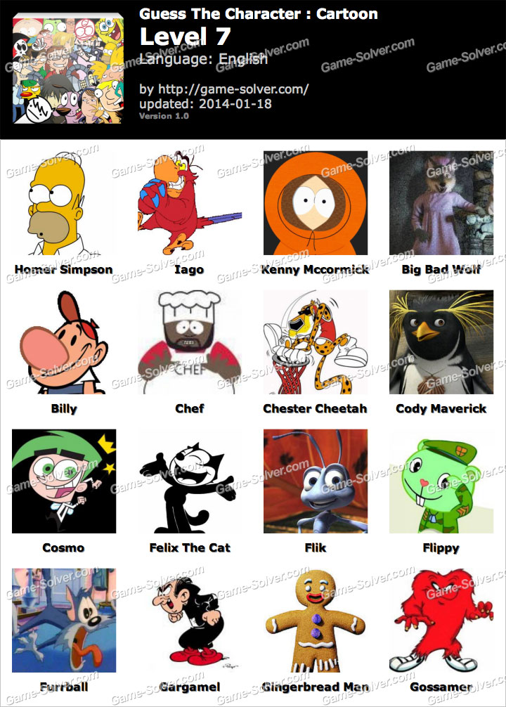 Level 6 Cartoon Characters : Guess the character cartoon level game solver