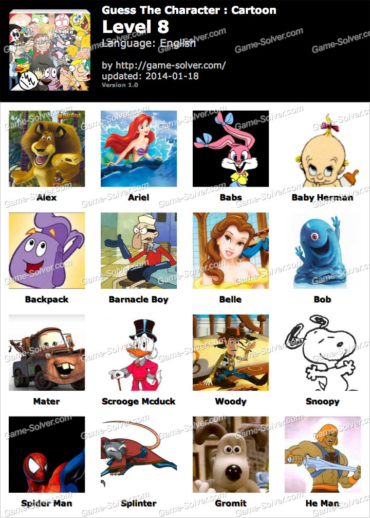 Cartoon Characters Level 6 : Guess the character cartoon level game solver