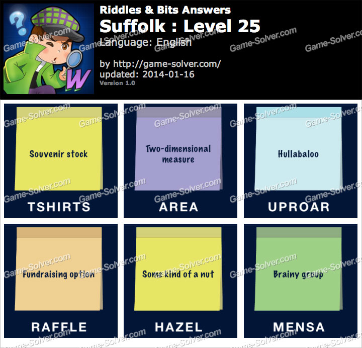 Riddles And Bits Suffolk Level 25 Game Solver