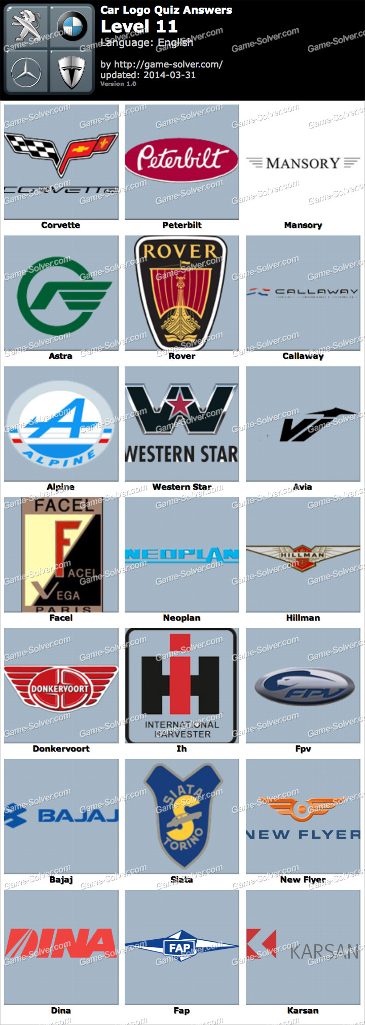 Car Logo Quiz Level 11 - Game Solver