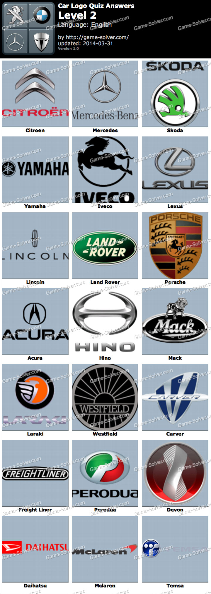 Car Logo Quiz Level 2 - Game Solver
