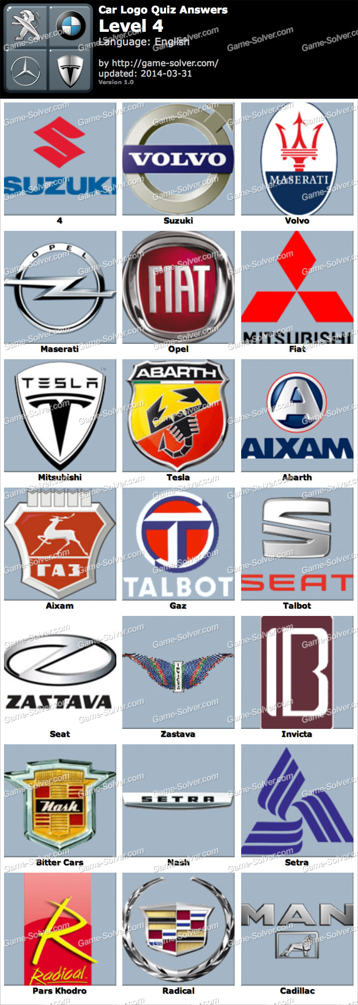 Car Logo Quiz Level 4 - Game Solver