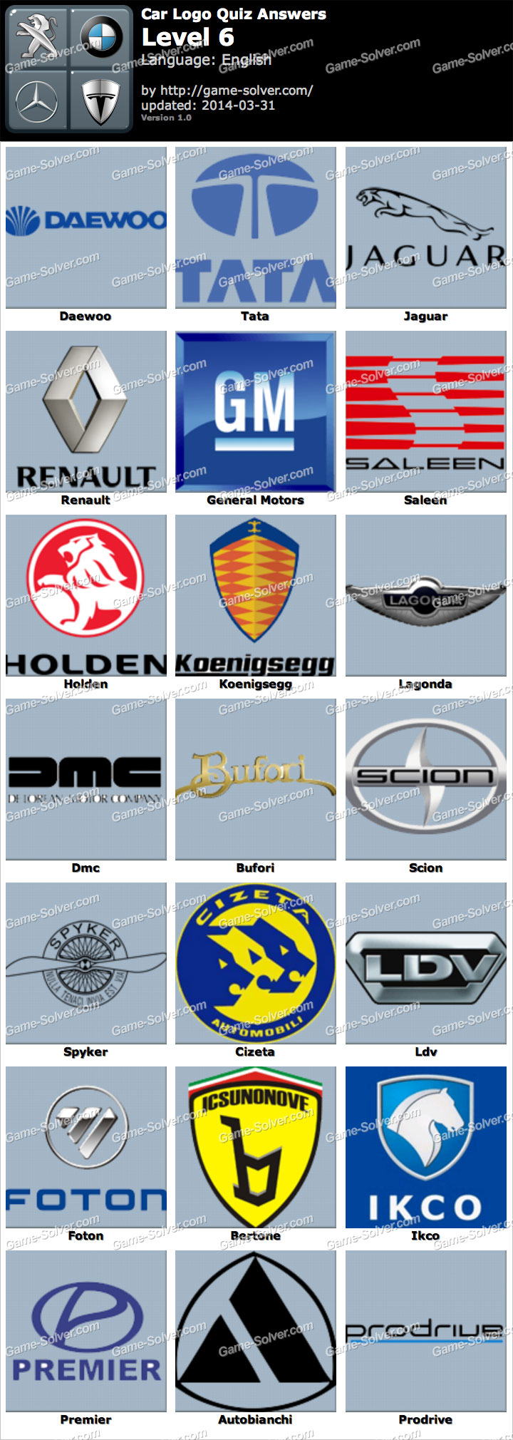 car logo quiz level 6 game solver