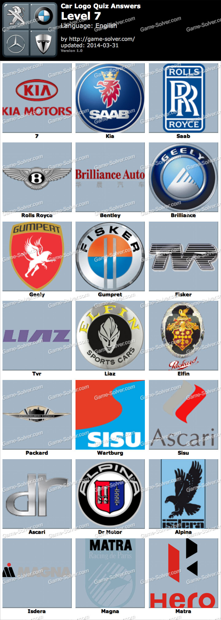Car Logo Quiz Level 7 - Game Solver Cars Logos Quiz Answers