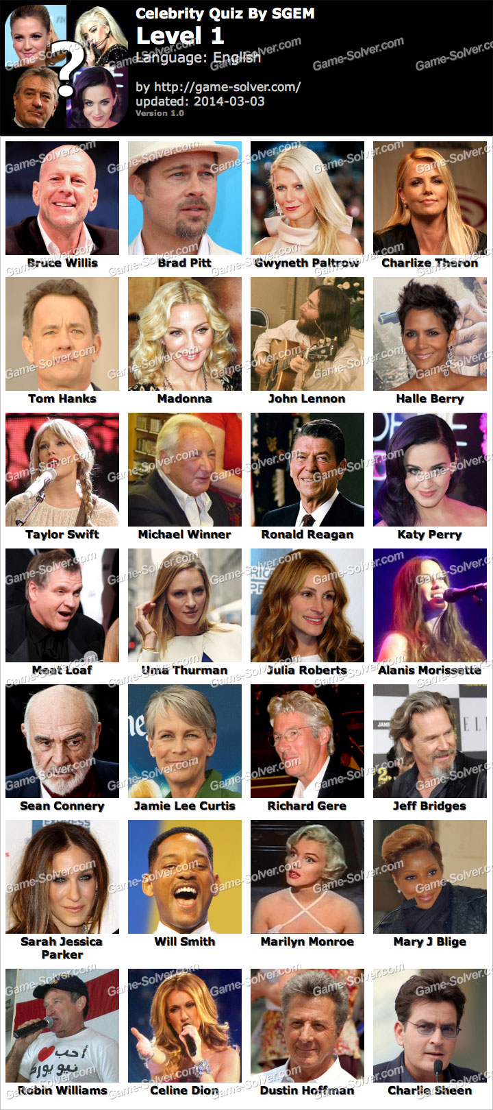 Crossword Quiz Celebrities Level 1 - Answers King