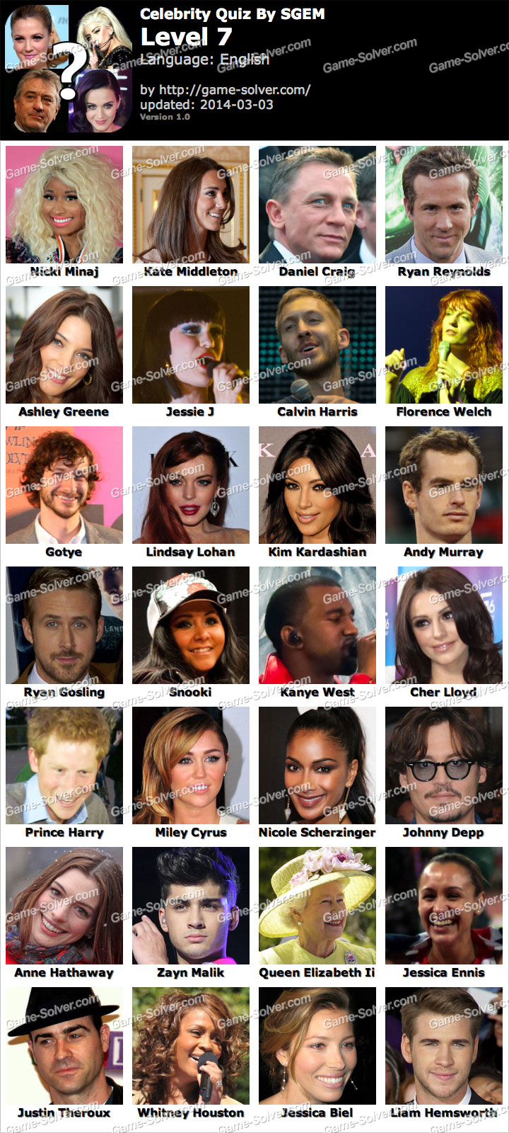 Celebrity quiz cheats level 18