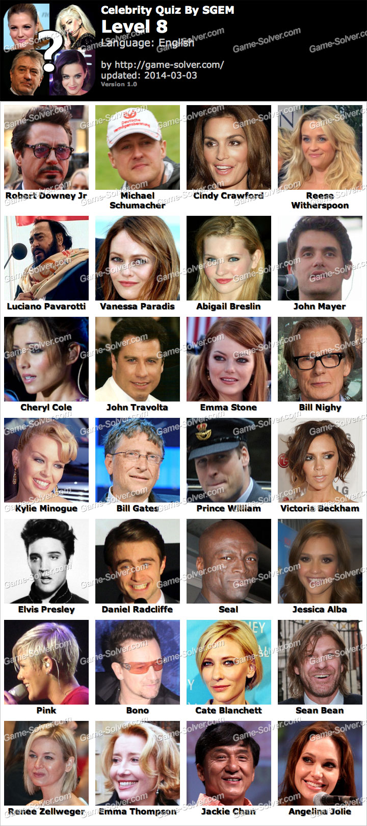 Celebrities Level 2 - Crossword Quiz Net