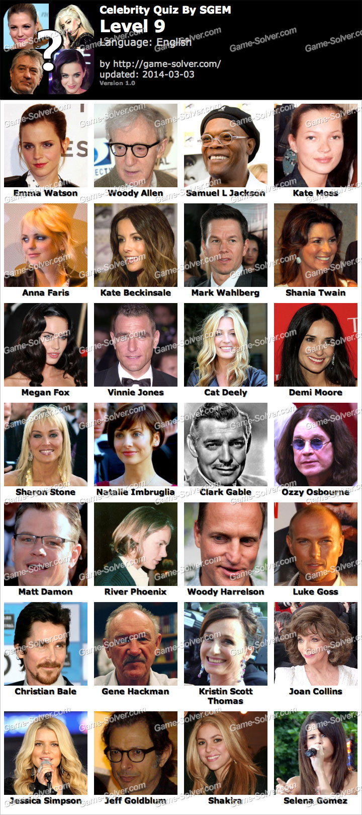 Celebrity Quiz Level 16 Answers - Funscrape