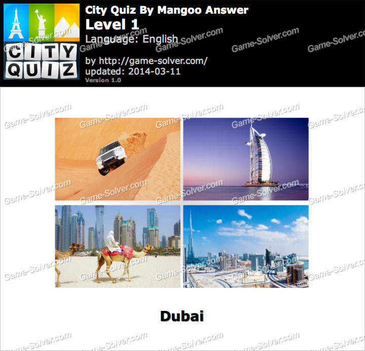 City Quiz Mangoo Level 1