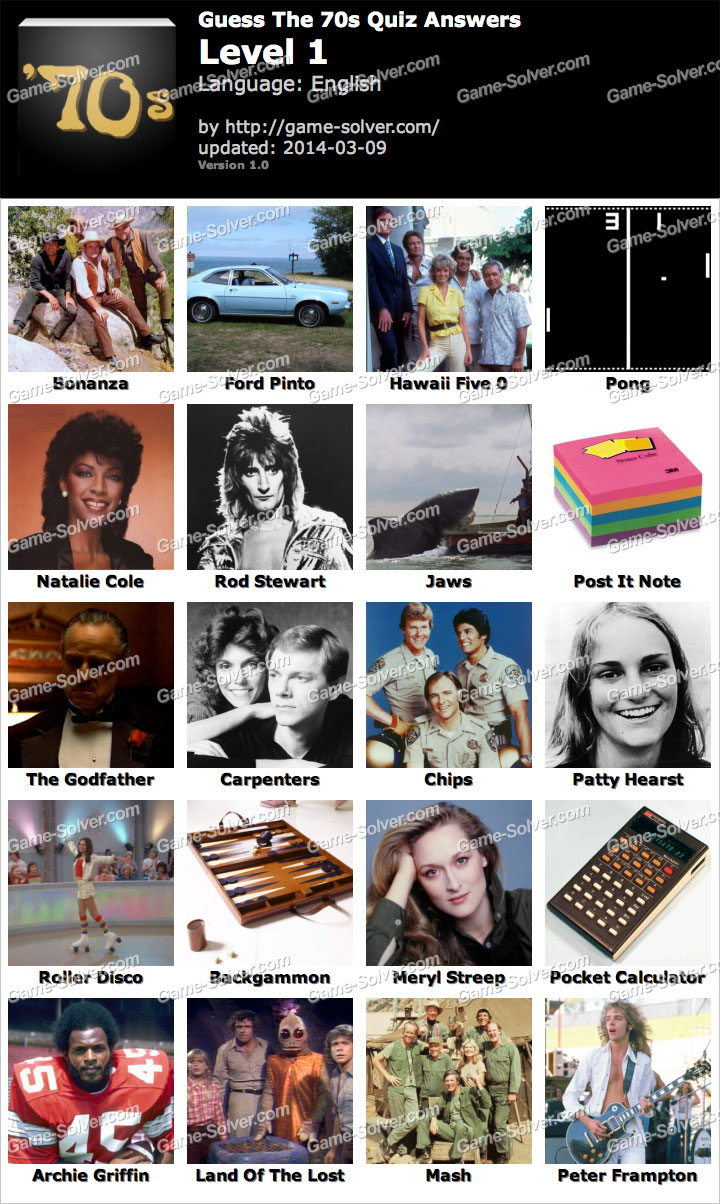 Answers Guess the 70s