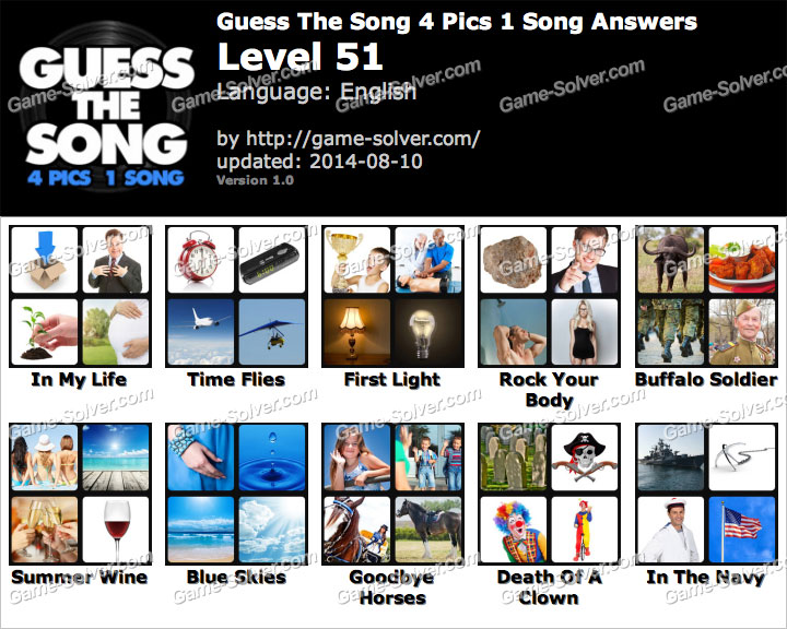 Guess The Song 4 Pics 1 Song Level 28 - Game Solver