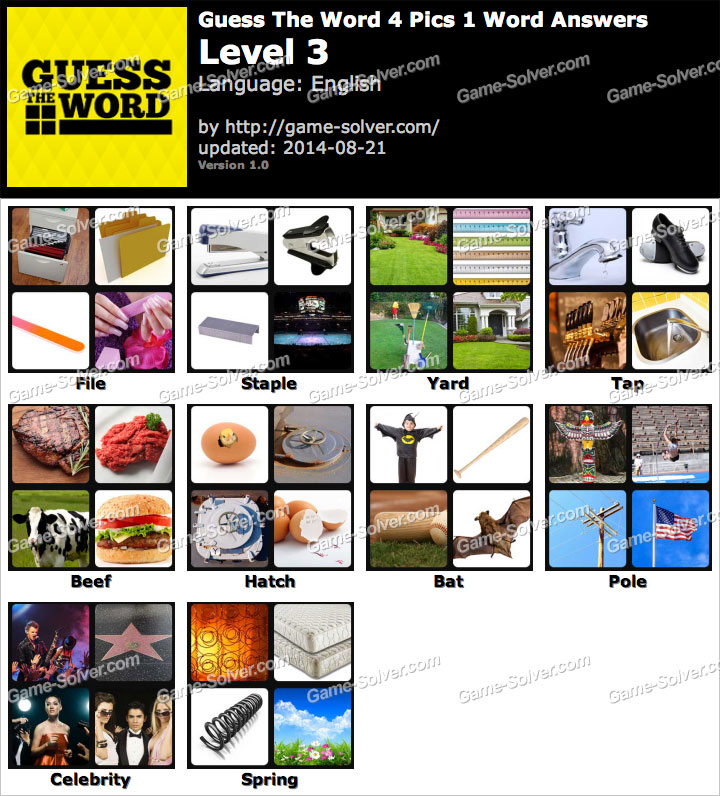 Guess The Word 4 Pics 1 Word Level 3 - Game Solver