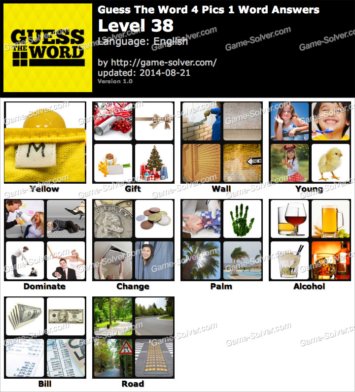Guess The Word 4 Pics 1 Word Level 38 - Game Solver