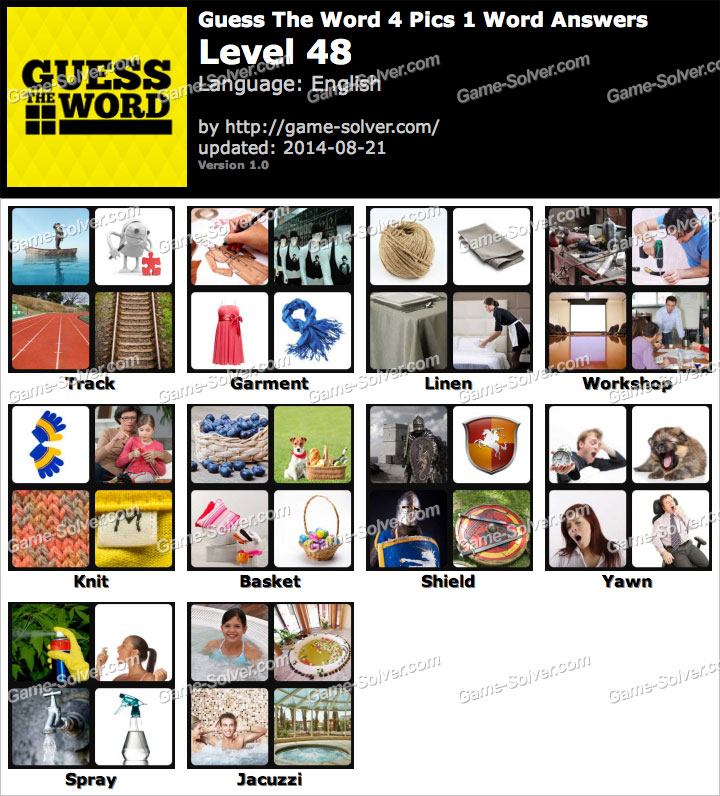 Guess The Word 4 Pics 1 Word Level 48 - Game Solver