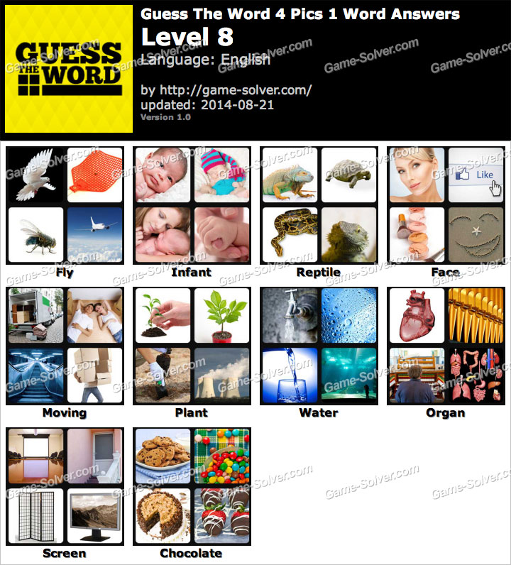 Guess The Word 4 Pics 1 Word Level 8 - Game Solver