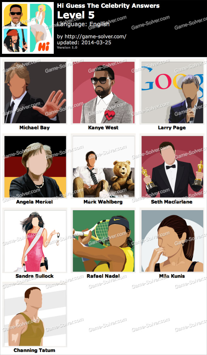 Hi Guess The Celebrity Cheats, Answers & Solutions: Level ...