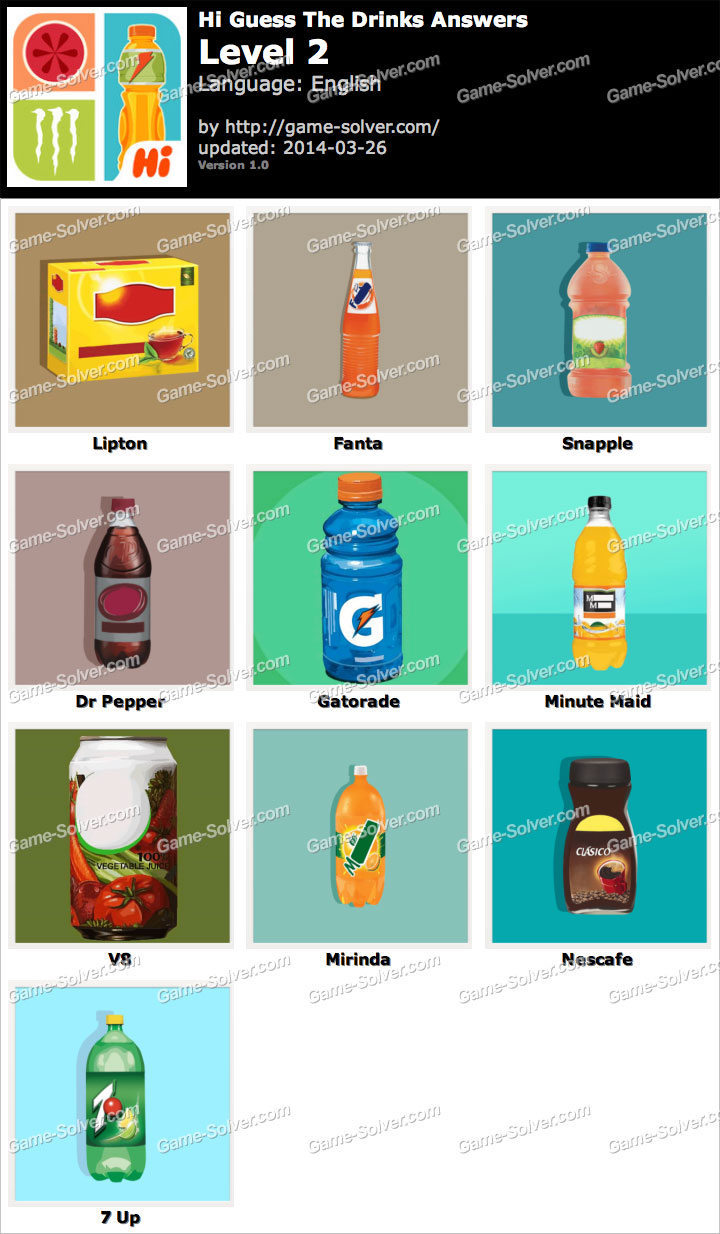 Hi Guess The Drinks Level 2 - Game Solver