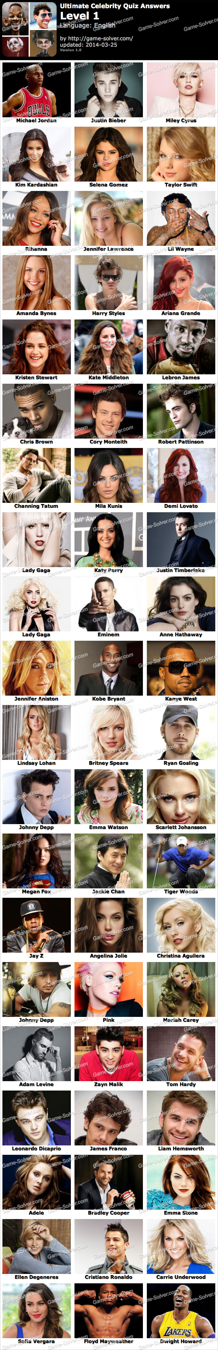 Ultimate Celebrity Quiz Level 1