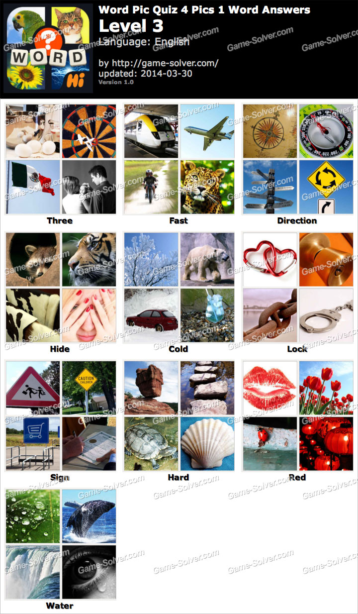 Word Pic Quiz 4 Pics 1 Word Level 3 - Game Solver