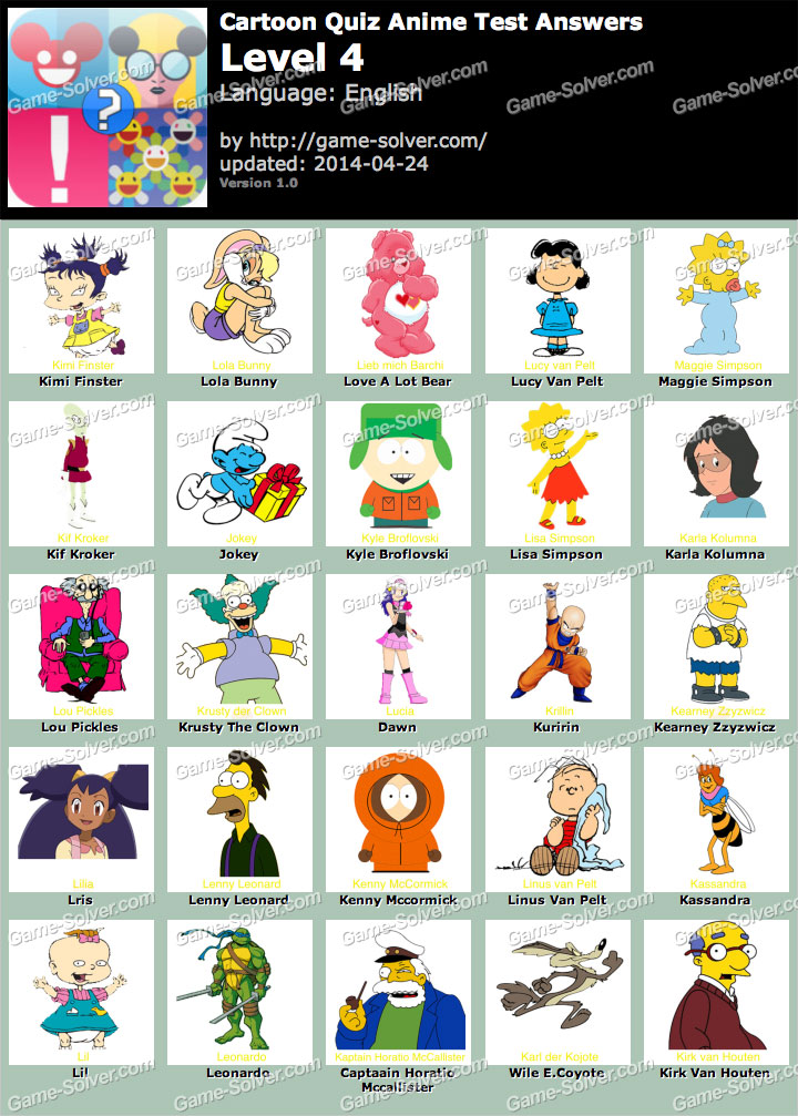 Anime Characters Quiz Answers : Cartoon picture quiz printable fandifavi
