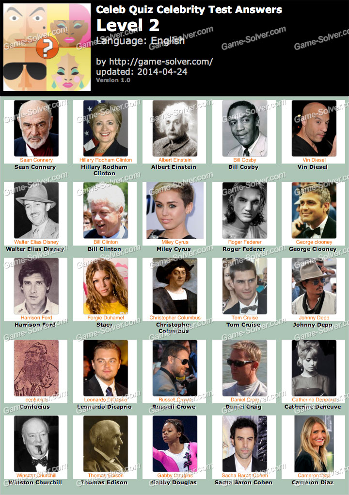 Celebrity Quiz Answers - Game Solver