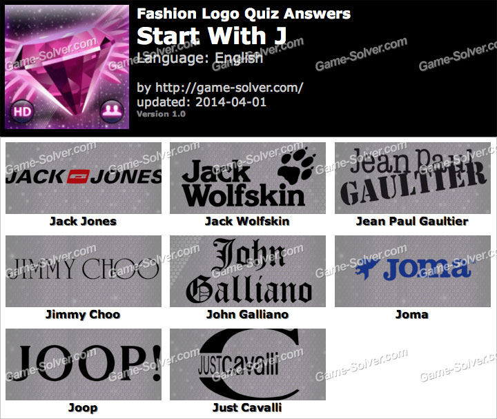 Fashion Logo Quiz Answers Start With J Game Solver